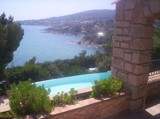 provencal house wth swimming-pool and panoramic view along the sea